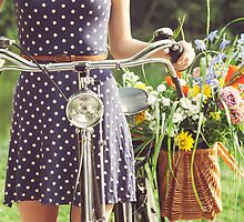Girl With Old-Fashioned Bicycle and Flowers by visualspectrum