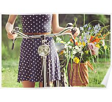Girl With Old-Fashioned Bicycle and Flowers Poster