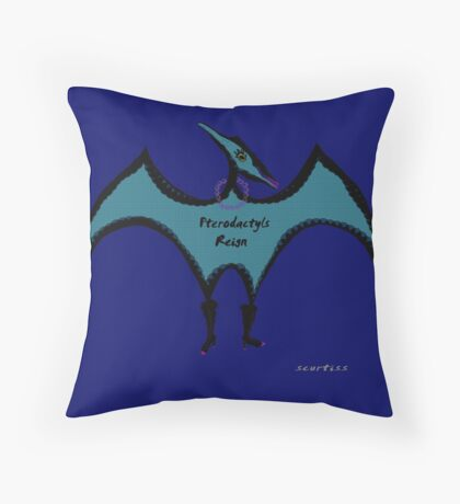 Pterodactyls in Blue with Pink Feathers Throw Pillow