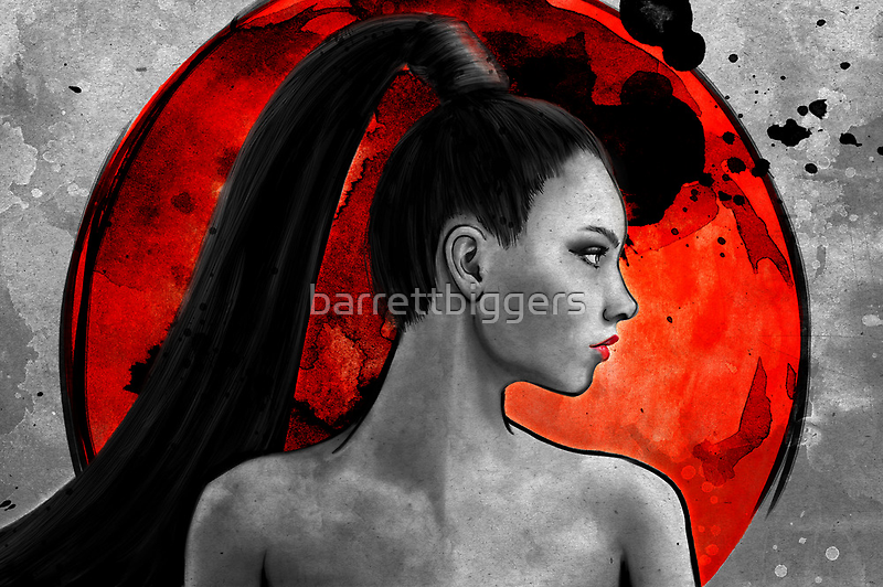 Red Warrior Woman Painting by barrettbiggers