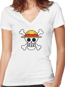 One Piece Cool Skull Women's Fitted V-Neck T-Shirt