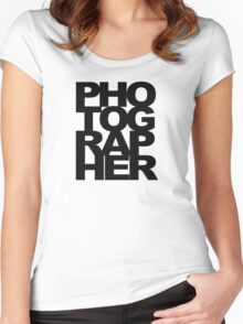 Photographer Camera Photography Modern Text Photos Scrapbook Geek Women's Fitted Scoop T-Shirt