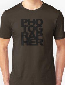 Photographer Camera Photography Modern Text Photos Scrapbook Geek Unisex T-Shirt