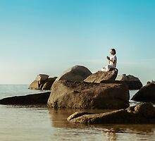 Young Man With Hands in Namaste by visualspectrum
