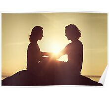 Young Romantic Couple at Sunset Poster