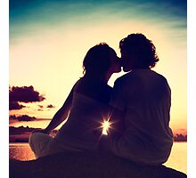 Lovers Kissing at Sunset Photographic Print