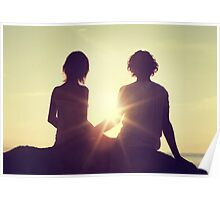Young Couple Watching a Sunset Poster