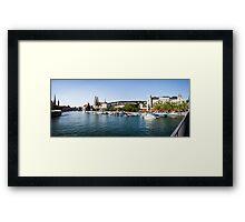 Zurich (Zürich) - River Limmat with Grossmünster Framed Print