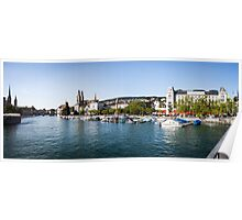 Zurich (Zürich) - River Limmat with Grossmünster Poster
