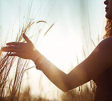 Female Hand Stroking High Grass by visualspectrum