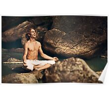 Laughing Young Man in Meditation Posture Poster