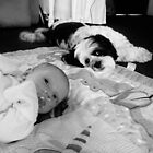 Baby and Dog 1 Black and White by sandiegophoto