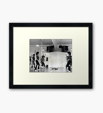 Reflection of Aerobics Class In The Mirror Framed Print