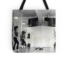 Reflection of Aerobics Class In The Mirror Tote Bag