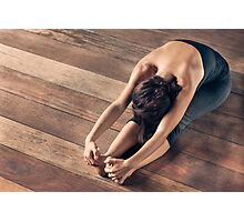 Yoga: Young Woman Doing Forward Bend Photographic Print