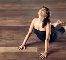 Pretty Woman Doing Yoga Cobra Pose by visualspectrum