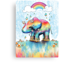 Little Rainbow Elephant Canvas Print