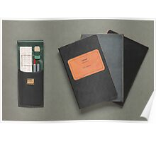 Old-fashioned Notebooks & Drawing Utensils Poster