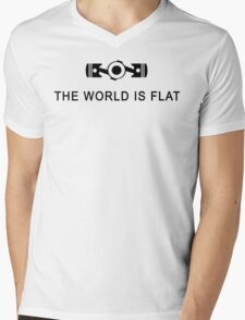 The world is flat Funny Geek Geeks Nerd Mens V-Neck T-Shirt