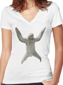 Sloth Hangs Around Your Neck :3 Women's Fitted V-Neck T-Shirt
