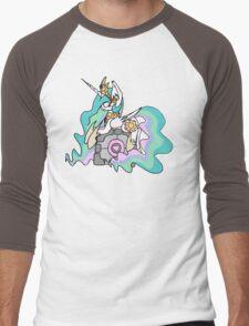Celestia and her companion cube Men's Baseball ¾ T-Shirt