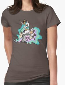 Celestia and her companion cube Womens Fitted T-Shirt