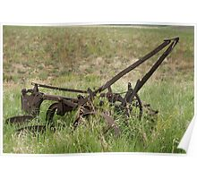 Antique Plow Abandoned in a Field Poster