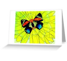 Butterfly on Flower Oil Pastel Greeting Card