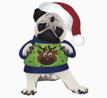 Super Cute Pug in an Ugly Sweater One Piece - Short Sleeve
