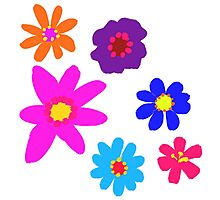 Retro Solid Flowers-Cooltones Photographic Print