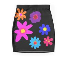 Retro Solid Flowers-Cooltones Mini Skirt