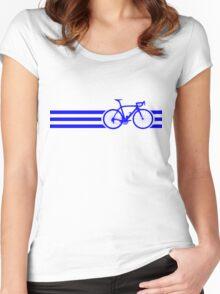 Bike Stripes Blue Women's Fitted Scoop T-Shirt
