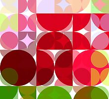Red Rose Edges Abstract Circles 3 by Christopher Johnson