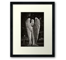 On angels wings a heavenly flight, the journey home towards the light Framed Print