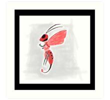 Cloud Bee Red Black Art Print