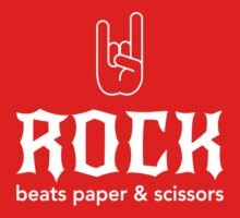 Rock beats paper and scissors by contoured