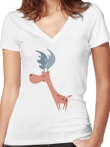 Pink Deer Women's Fitted V-Neck T-Shirt