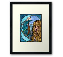 Turquoise Moon Framed Print