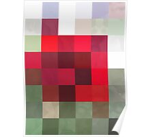 Red Rose Edges Abstract Rectangles 3 Poster