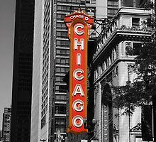 Red Chicago Theatre Sign Black and White Chicago Photography by gurso27