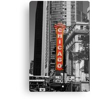Red Chicago Theatre Sign Black and White Chicago Photography Metal Print