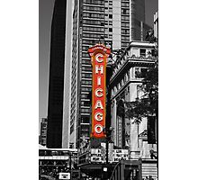 Red Chicago Theatre Sign Black and White Chicago Photography Photographic Print
