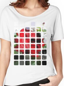 Red Rose Edges Art Rectangles 1 Women's Relaxed Fit T-Shirt