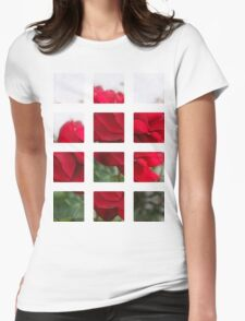 Red Rose Edges Art Rectangles 2 Womens Fitted T-Shirt