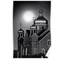 Ukrainian church by full moon Poster