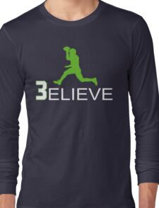 Russell Wilson Believe (3elieve) Green Jump Pass T-shirt Long Sleeve T-Shirt