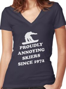 Proudly annoying skiiers since 1972 Women's Fitted V-Neck T-Shirt