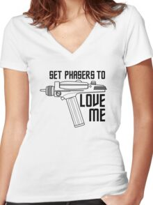 Set Phasers to Love Me Women's Fitted V-Neck T-Shirt