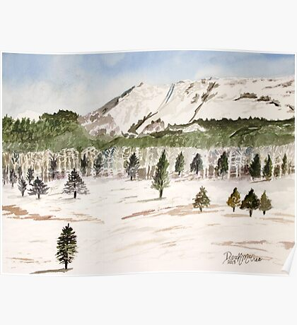 Pikes Peak Mountains Painting Poster