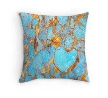 Turquoise and Gold iPhone / Samsung Galaxy Case Throw Pillow